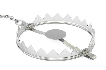 empty glass bear trap, 3D rendering isolated on white background