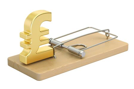 trapped: mousetrap with pound sterling sign, 3D rendering isolated on white background Stock Photo