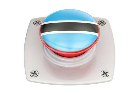 Botswana flag push button, 3D rendering