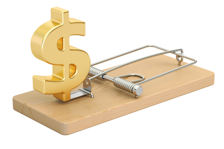 mousetrap with dollar sign, 3D rendering isolated on white background Stock Photo