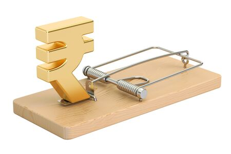 trapped: mousetrap with rupee sign, 3D rendering isolated on white background Stock Photo