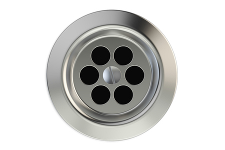 Top view of kitchen sink drain, round plug hole. 3D rendering