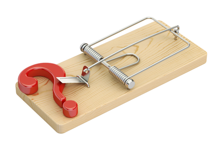 mousetrap with question mark, 3D rendering Stock Photo