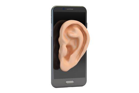Teléfono concepto de espía, representación 3D