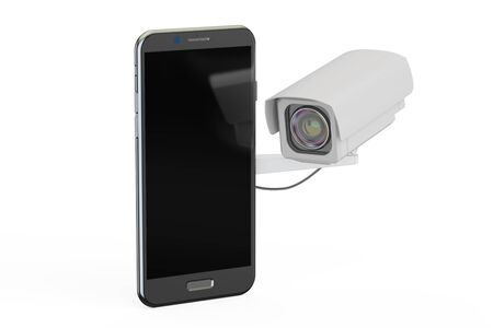 snoop: Security camera and smartphone, 3D rendering Stock Photo