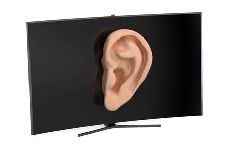 snoop: Tv set with ear, intelligence and spying concept. 3D rendering Stock Photo