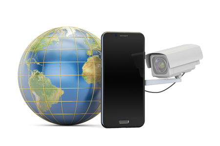 snoop: Security camera with globe Earth and phone, 3D rendering