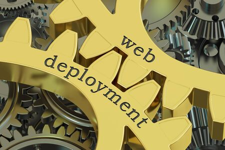 web application: Web Deployment concept on the gearwheels, 3D rendering Stock Photo