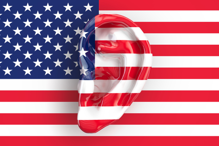 American intelligence concept, ear on the USA flag. 3D rendering