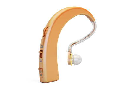 Hearing aid closeup, 3D rendering isolated on white background