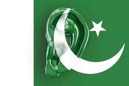 Pakistani intelligence concept, ear on the flag of Pakistan. 3D rendering Stock Photo