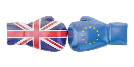 disagree: gloves with EU and UK flags, Brexit concept. 3D rendering Stock Photo