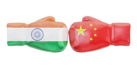 Gloves with India and China flags. Governments conflict concept, 3D rendering Stock Photo