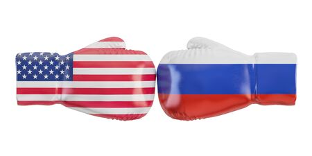 dominating: Gloves with USA and Russia flag. Governments conflict concept, 3D rendering