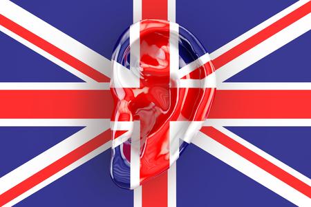 snoop: British intelligence concept, ear on the UK flag. 3D rendering
