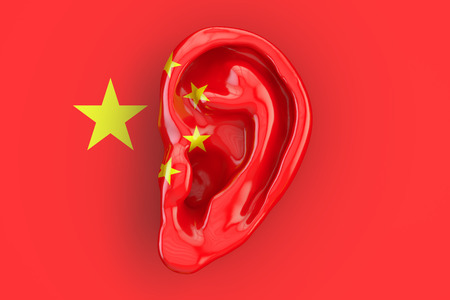 Chinese intelligence concept, ear on the flag of China. 3D rendering