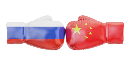 Boxing gloves with China and Russia flags. Governments conflict concept, 3D rendering Stock Photo
