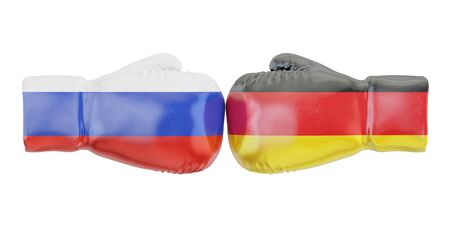 Boxing gloves with Germany and Russia flags. Governments conflict concept, 3D rendering