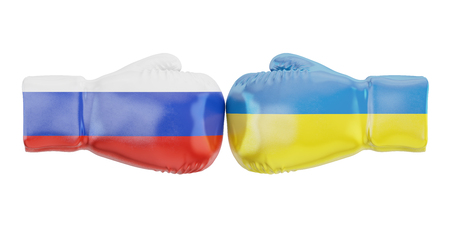 Boxing gloves with Ukraine and Russia flags. Governments conflict concept, 3D rendering
