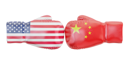 Boxing gloves with USA and China flags. Governments conflict concept, 3D rendering