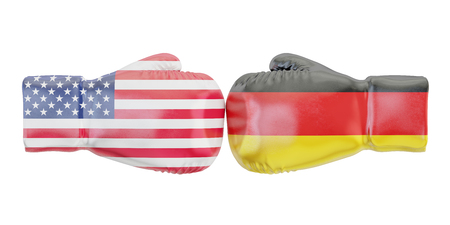 Boxing gloves with USA and Germany flags. Governments conflict concept, 3D rendering Stock Photo