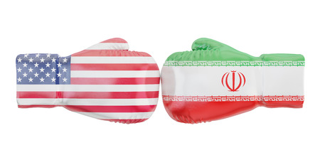 Boxing gloves with USA and Iran flags. Governments conflict concept, 3D rendering