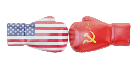 Boxing gloves with USA and USSR flags. Governments conflict concept, 3D rendering