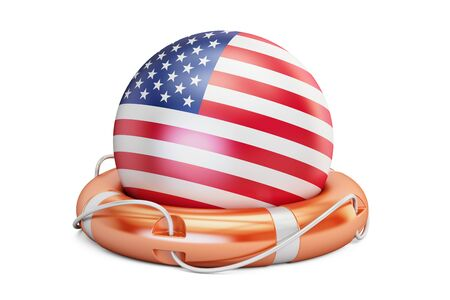 Lifebelt with USA flag, safe, help and protect concept. 3D rendering