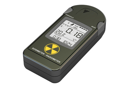 gamma radiation: radiation dosimeter closeup, 3D rendering Stock Photo