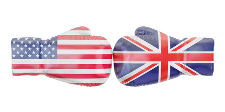 disagree: Boxing gloves with USA and Great Britain flags. Governments conflict concept, 3D rendering Stock Photo