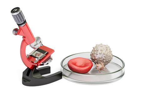 biotechnology research concept, microscope and blood cells. 3D rendering  isolated on white background Stock Photo