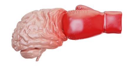 Schade aan de hersenen uit het boksen concept, 3D-rendering