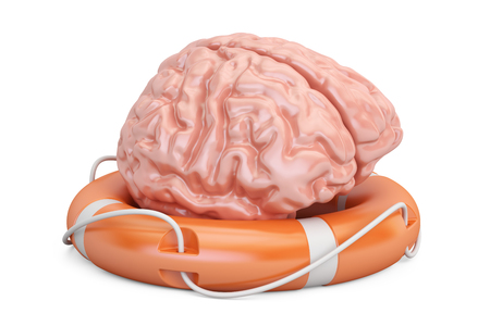 Brain with lifebuoy, 3D rendering isolated on white background