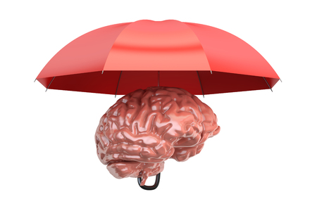 Brain with umbrella, 3D rendering isolated on white background