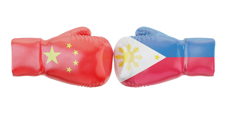 Boxing gloves with Philippines and China flags. Governments conflict concept, 3D rendering