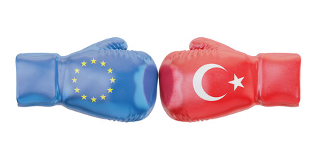Boxing gloves with Turkey and EU flags. Governments conflict concept, 3D rendering Stock Photo