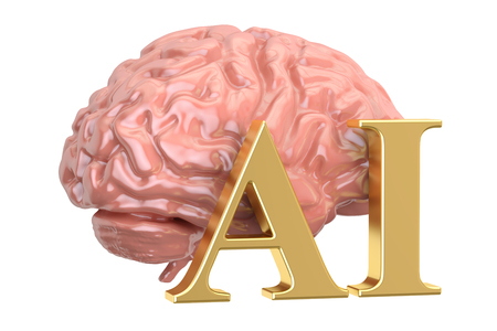 Human brain and AI word, artificial intelligence concept. 3D rendering Stock Photo