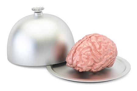 Restaurant cloche with brain, 3D rendering