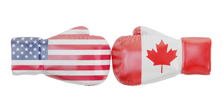 Boxing gloves with USA and Canada flags. Governments conflict concept, 3D rendering Stock Photo
