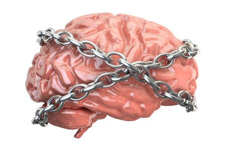 Chained brain, 3D rendering isolated on white background
