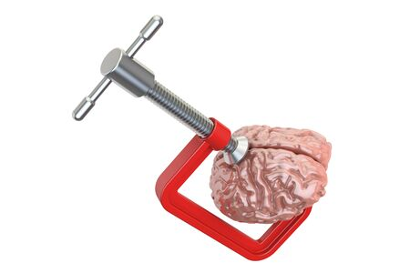 Clamp with human brain. Headache and stress concept, 3D rendering