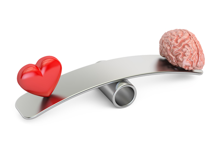 equalize: balance concept, seesaw with heart and brain, 3D rendering
