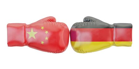 Boxing gloves with Germany and China flags. Governments conflict concept, 3D rendering