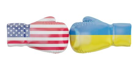 Boxing gloves with USA and Ukraine flags. Governments conflict concept, 3D rendering Stock Photo