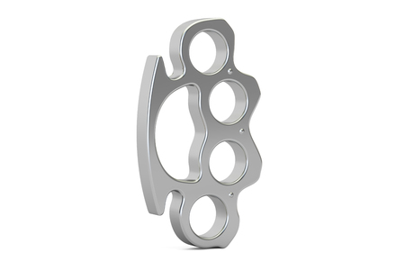 Brass knuckles closeup, 3D rendering isolated on white background