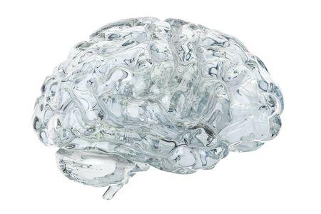 cognicion: Cerebro transparente de cristal, representación 3D aislada en el fondo blanco Foto de archivo