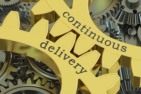continuous delivery concept on the gears, 3D rendering Stock Photo