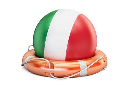 Lifebelt with Italy flag, safe, help and protect concept. 3D rendering