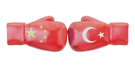 Boxing gloves with Turkey and China flags. Governments conflict concept, 3D rendering
