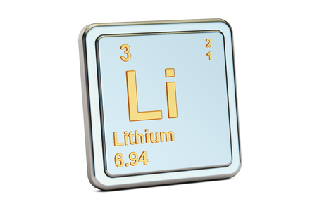 atomic symbol: Lithium Li, chemical element sign. 3D rendering isolated on white background
